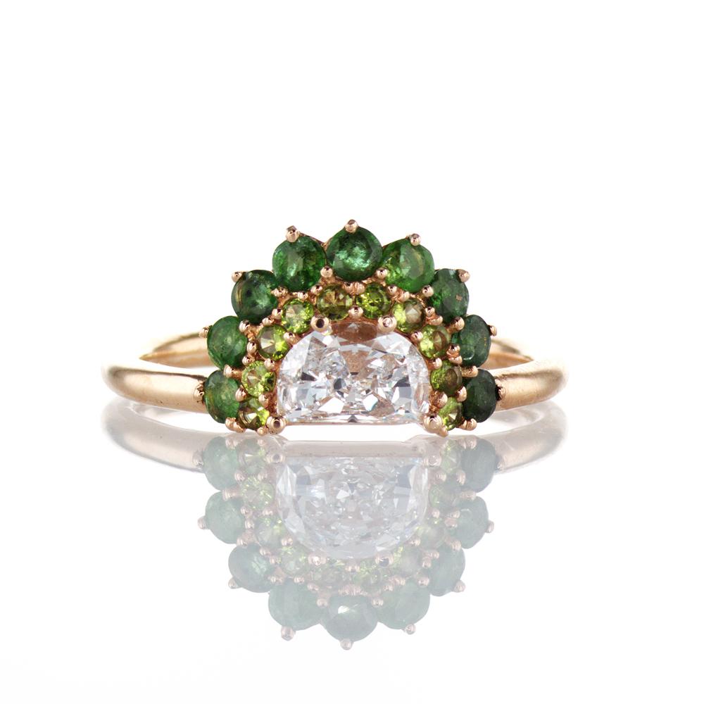 Dino Lonzano Luna Diamond Ring with Emeralds and Tsavorites. 18k Gold