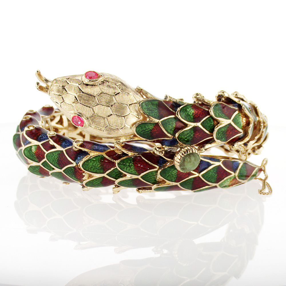 Vintage Inspired Enamel Snake Bracelet with Rubies, 18k Yellow Gold