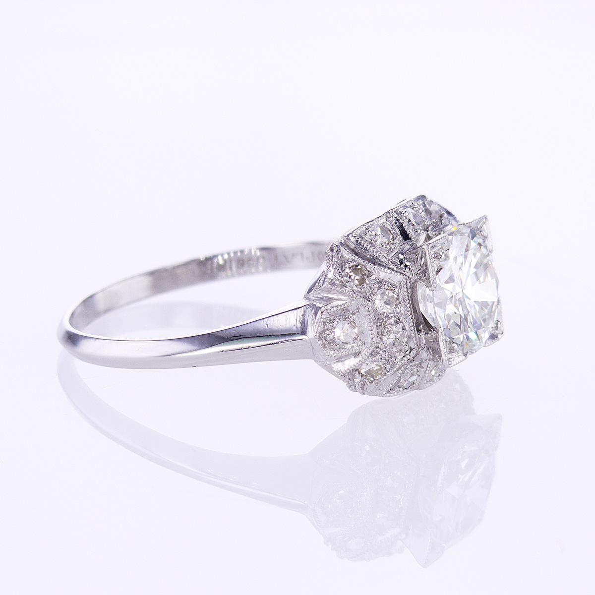 Vintage Art Deco Diamond Engagement Ring, Platinum
