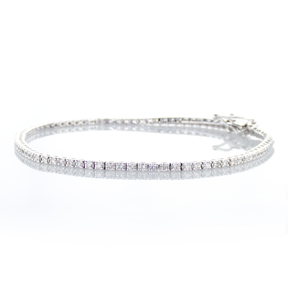 1 Carat Mined Diamond Tennis Bracelet, 14k White Gold