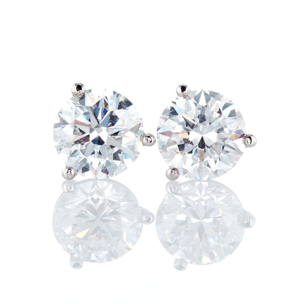 2 Carat Diamond Stud Earrings, Platinum