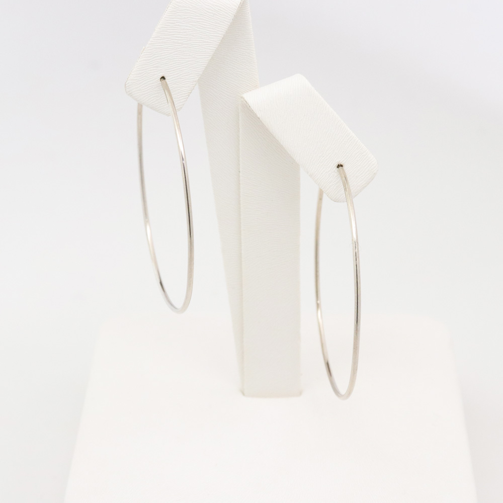 Thin White Gold Hoop Earrings