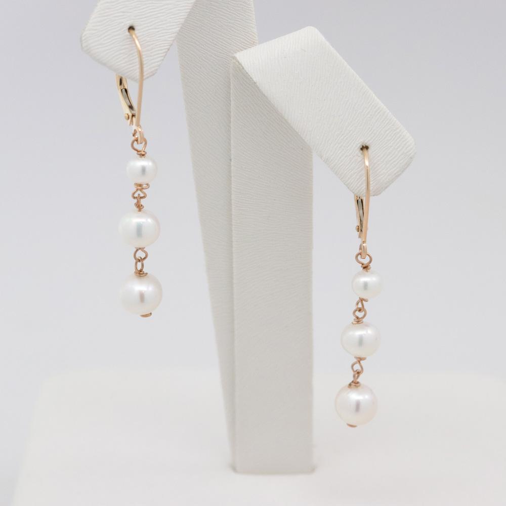 Triple Freshwater Pearl Drop Earrings