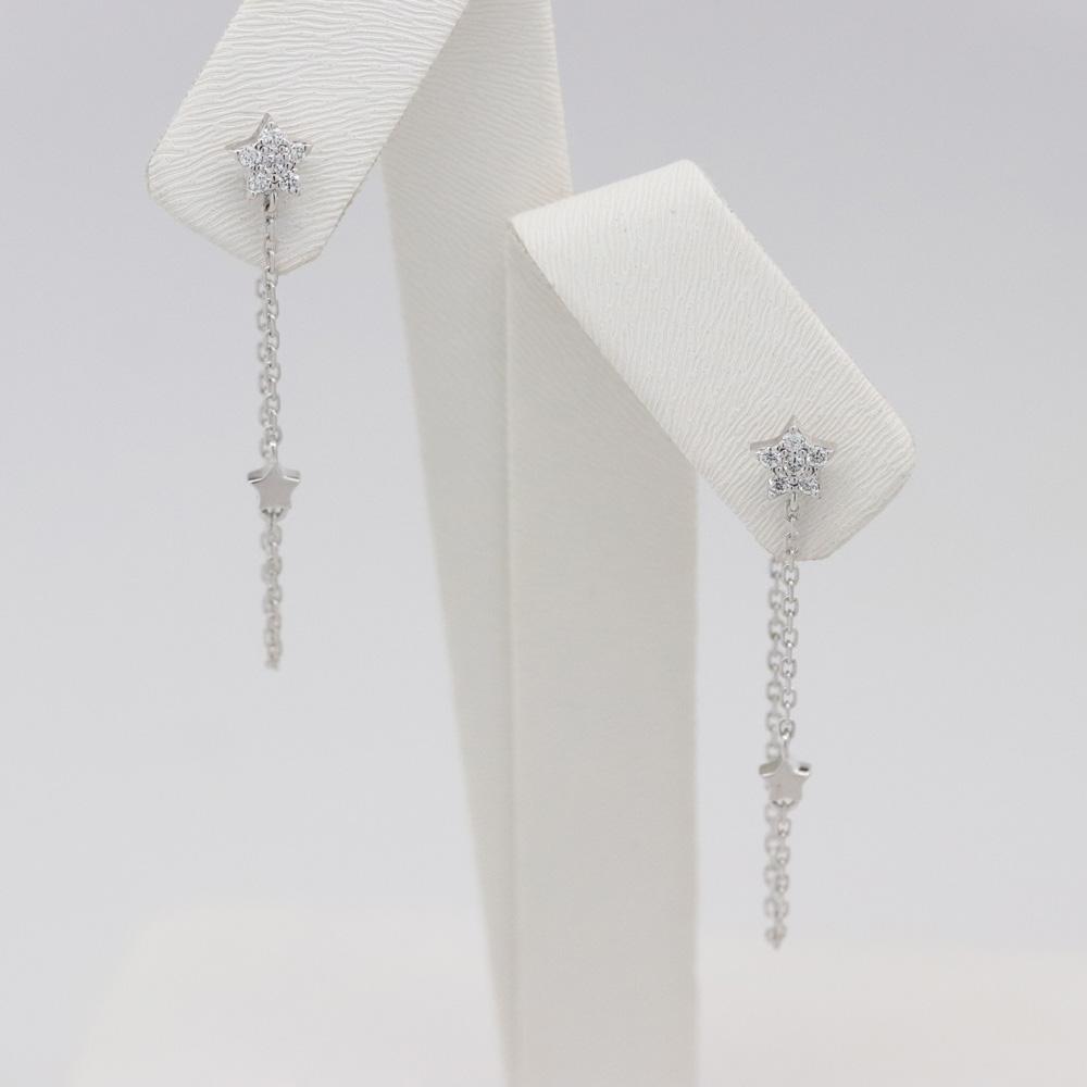 Double Star Diamond Chain Stud Earrings