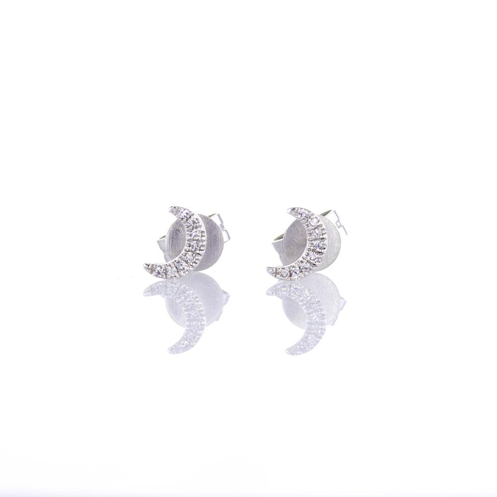 Diamond Crescent Moon Stud Earrings