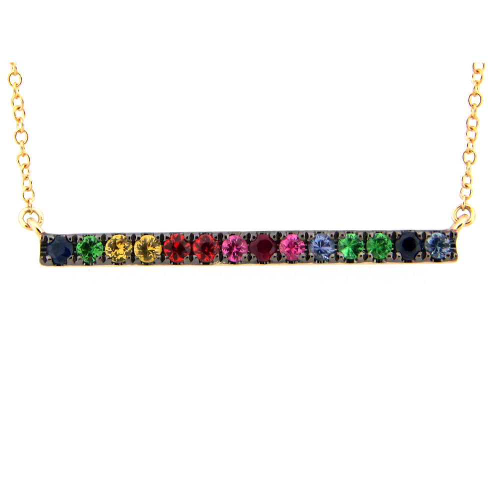 Rainbow Sapphire Bar Necklace