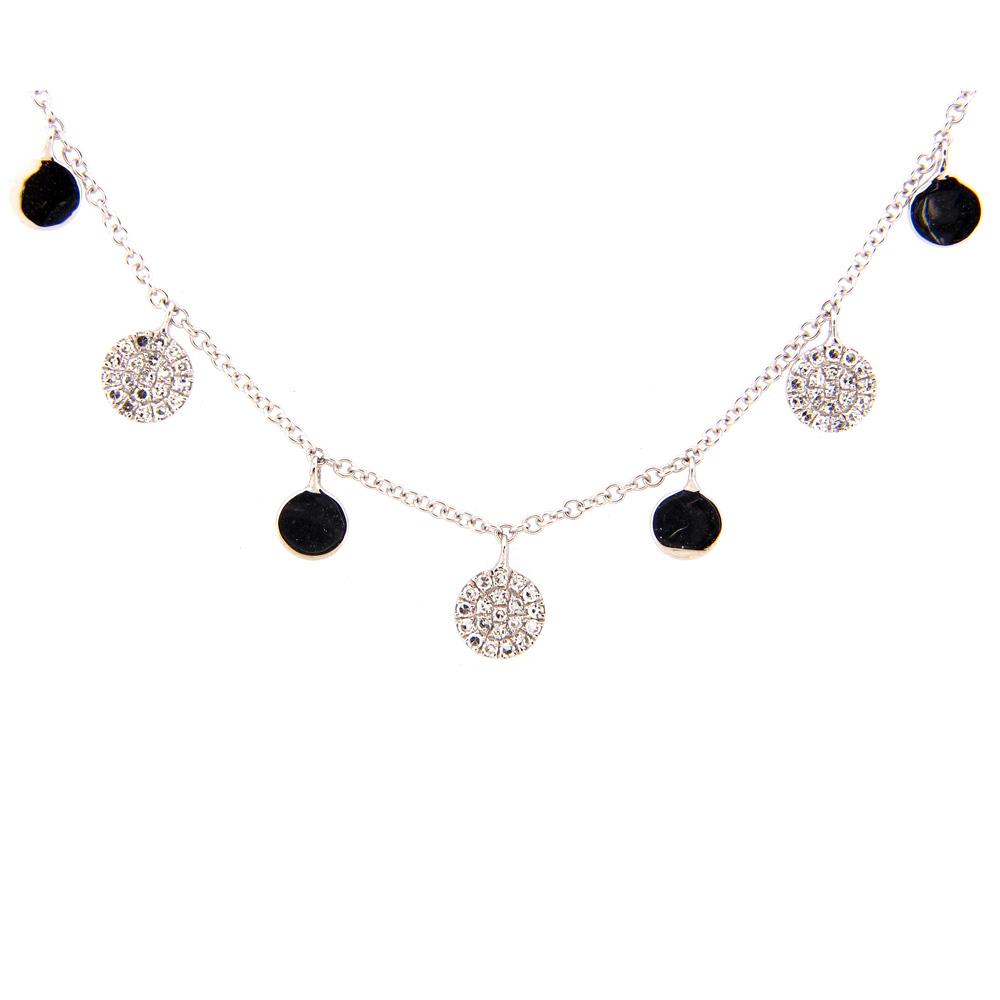 Dangling Diamond Disc Necklace