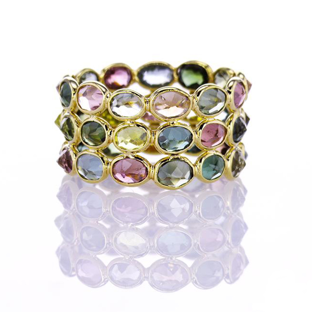 Stacked Rainbow Tourmaline Ring